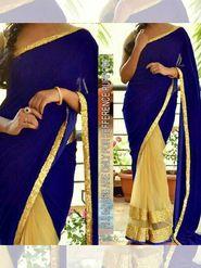 Arisha Velvet Embroidered Saree - Blue And Beige