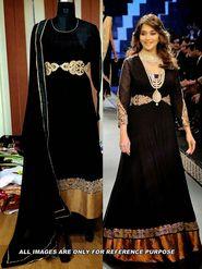 Arisha Georgette Embroidered Semi-Stitched Anarkali Suit - Black - 6101