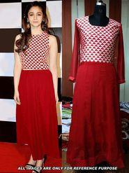 Arisha Georgette Embroidered Semi-Stitched Anarkali Suit - Red