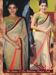 Arisha Net Embroidered Saree - Beige - 7002