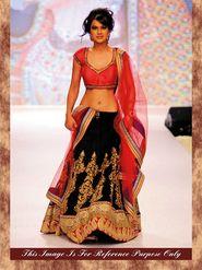 Arisha Georgette Embroidered Semi-Stitched Lehenga Saree - Red And Black