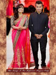 Arisha Net Embroidered Saree - Pink - 7022