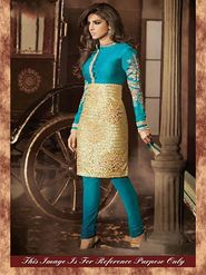 Arisha Bhagalpuri Embroidered Semi-Stitched Anarkali Suit - Turquoise And Golden