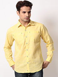 Bendiesel Plain Linen Full Sleeves Shirt - Yellow