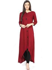 Bhuwal Fashion Solid Poly Rayon Red Kurti -Bfbm10009