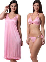 Set Of 3 Being Fab Satin Lycra Solid Nightwear -fbl35