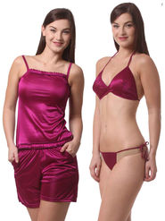 Set Of 4 Being Fab Satin Lycra Solid Nightwear -fbl27