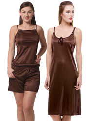 Set Of 3 Being Fab Satin Lycra Solid Nightwear -fbl14