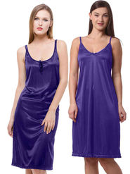 Set Of 2 Being Fab Satin Lycra Solid Nightwear -fbl05