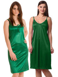 Set Of 2 Being Fab Satin Lycra Solid Nightwear -fbl07