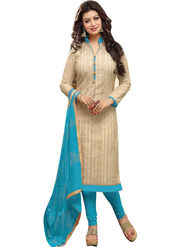 Styles Closet Embroidered Chanderi Cream Unstitched Dress Material -Bnd-5254