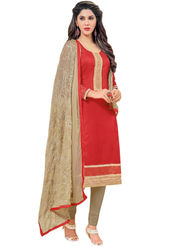 Styles Closet Printed Chanderi Red Unstitched Dress Material -Bnd-5259