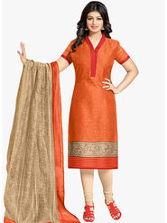 Styles Closet Printed Cotton Orange Unstitched Dress Material -Bnd-5264
