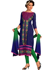 Styles Closet Embroidered Chanderi Unstitched Dress Material -Bnd-5272