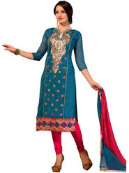 Styles Closet Embroidered Chanderi Unstitched Dress Material -Bnd-5275