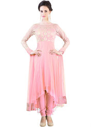 Styles Closet Embroidered Net Semi-Stitched Pink Suit -Bnd-6118