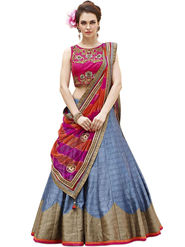 Styles Closet Embroidery Banglori Silk MultiColor Lehenga - BND-7022