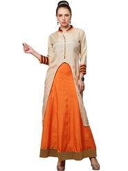 Styles Closet Cotton Beige Semi-Stitched Lehenga Choli -Bnd-7038