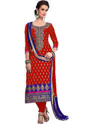 Styles Closet Embroidered Chanderi Unstitched Red Dress Material -Bnd-R8385