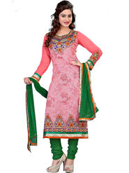 Styles Closet Embroidered Brasso Pink Semi-Stitched Suit -Bnd-S1042