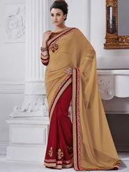 Bahubali Chiffon Embroidered Saree - Beige - GA.50229