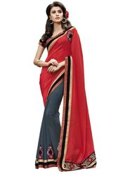 Bahubali Jacquard-Georgette Embroidered Saree - Red And Grey