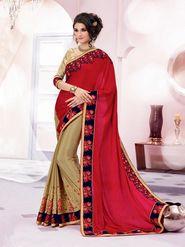 Bahubali Satin Chiffon-Satin Chiffon Embroidered Saree - Red And Gold