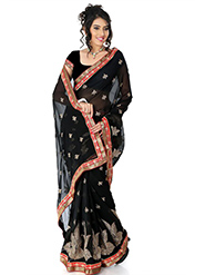 Embroidered Chiffon Saree - Black-1383