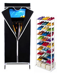 Kawachi Single Door Space Saving Foldable Wardrobe and  Amazing Shoe Rack Combo