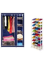 Combo Of Kawachi Elegant Double-Sided Foldable Canvas Wardrobe with Portable Shoe Rack_C78-Blue