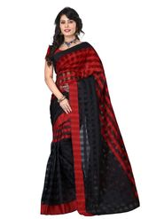 Bhuwal Fashion Plain Cotton Silk Red & Black Designer Saree -bhl12