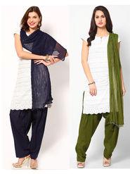 Combo of 2 Arisha Cotton Solid Salwar And Dupatta Set-CMBB16