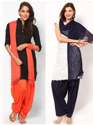 Combo of 2 Arisha Cotton Solid Salwar And Dupatta Set-CMBB19