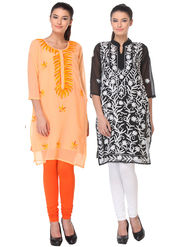 Pack of 2 Lavennder Embroidered Georgette Kurti -la06
