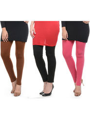 Combo of 3 Lavennder Woolen Pink Black Brown Leggings -lvn01