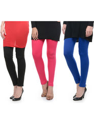 Combo of 3 Lavennder Woolen Black Pink Blue Leggings -lvn04