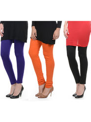 Combo of 3 Lavennder Woolen Purple Orange Black Leggings -lvn05