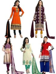 Combo of 5 Thankar Printed Polycotton Unstitched Dress material