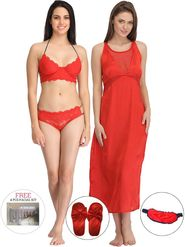 Pack of 6 Clovia Solid Satin & Lace Nightwear -Combova30