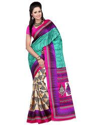 Carah Art Silk Printed Saree - Multicolor - CRH-N231