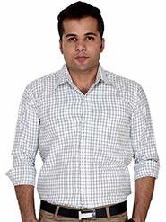 Velgo Club Checks Regular Fit Cotton Formal Full Sleeves Shirt for Men - White & Black