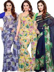 Combo of 3 Ishin Printed Faux Georgette Multicolor Saree-Com1170
