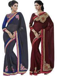 Pack of 2 Desinger Bahubali Embroidered Chiffon Sarees -  GAL804-A