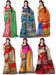 Pack of 6 Printed Artsilk Saree-ad35