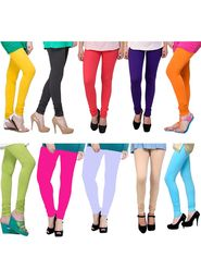 Combo of 10 Arisha Solid Cotton Lycra Legging -sa02
