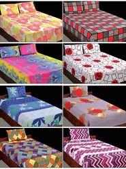 Cotton Rich 4 Double & 4 Single Bedsheets Combo (4DSBS7)
