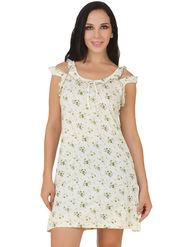 Fasense Shinker Cotton Floral Print Nightwear Short Nighty -DP152C1