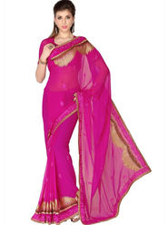 Designersareez Faux Georgette Embroidered Saree - Magenta - 1758