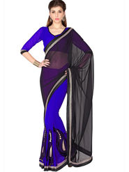 Designersareez Faux Georgette Embroidered Saree - Black & Blue - 1781