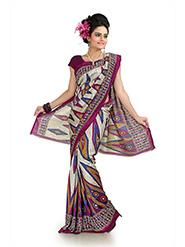 Printed Khadi Silk Saree - Multicolor-1022